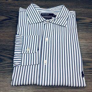 Polo Ralph Lauren White w/ Blue Stripe Shirt XXL
